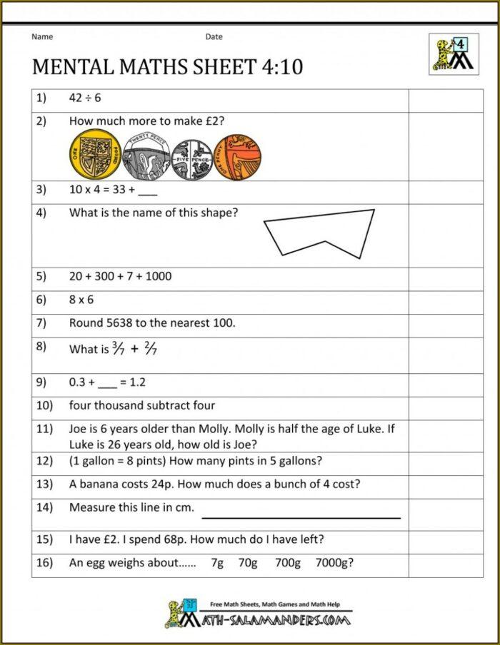Math Worksheet Year 5