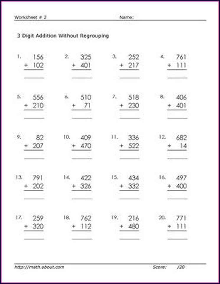 Math Worksheets 3 Digit Addition Without Regrouping