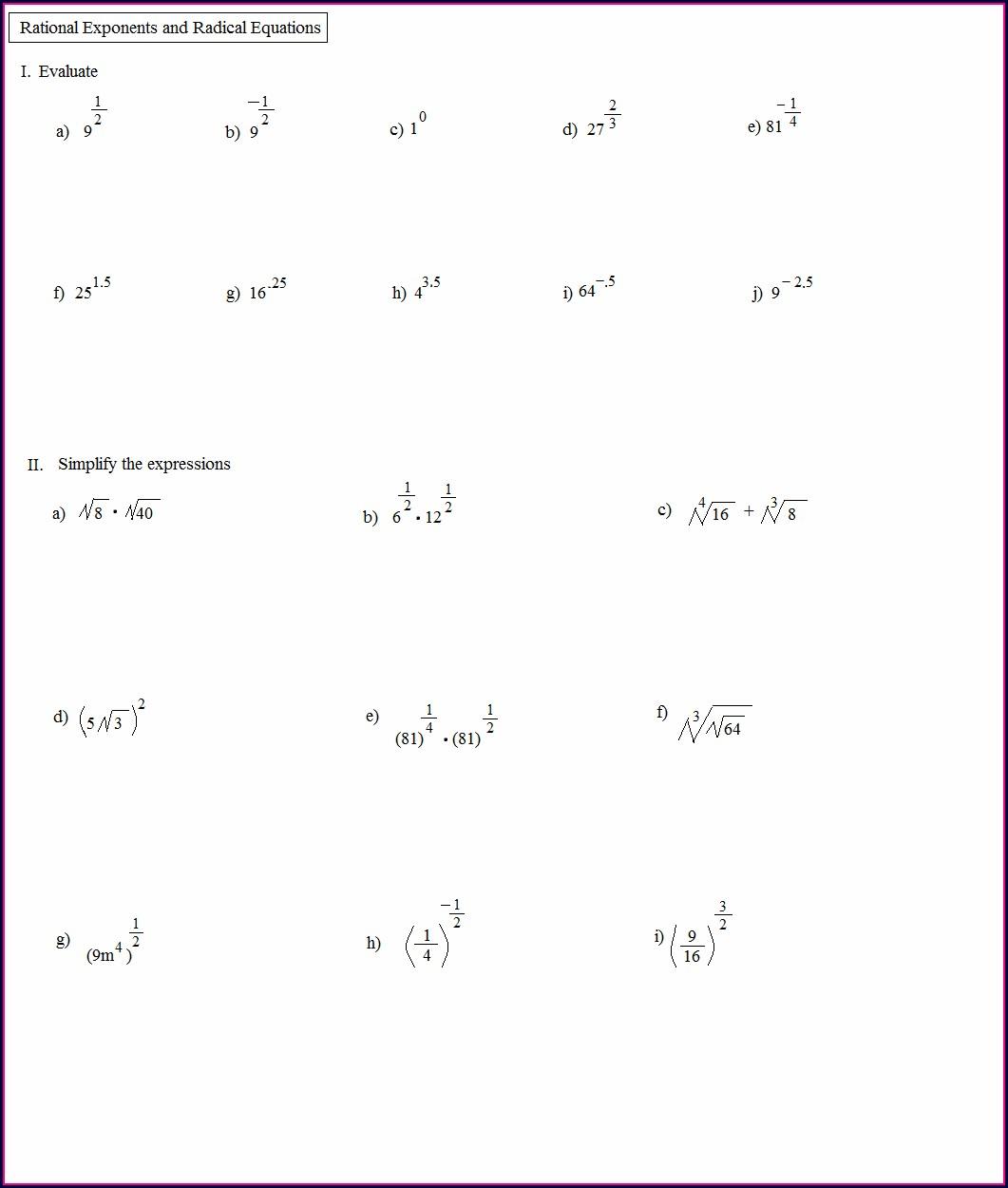 Math Worksheets 8th Grade Exponents