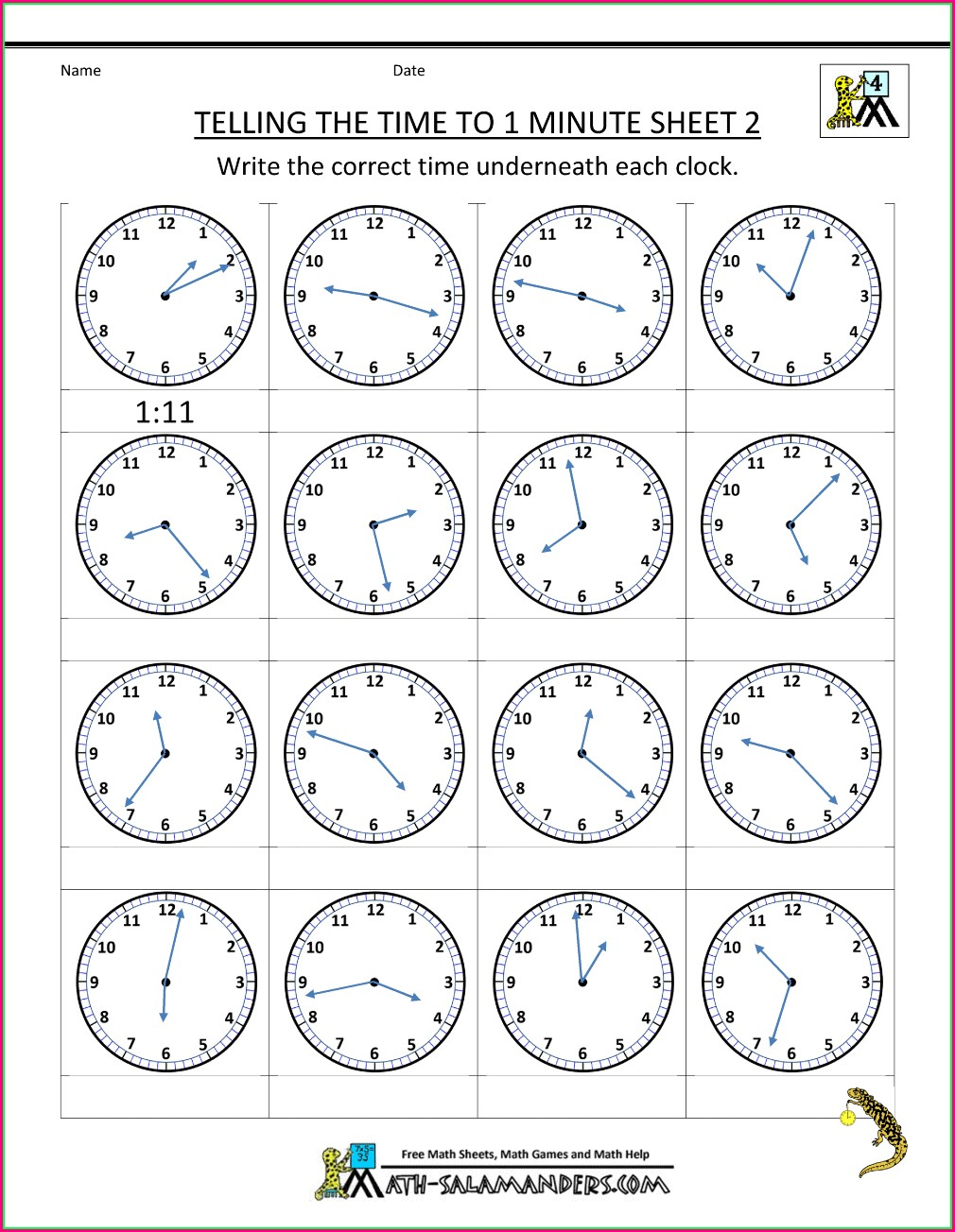 Math Worksheets About Time Telling