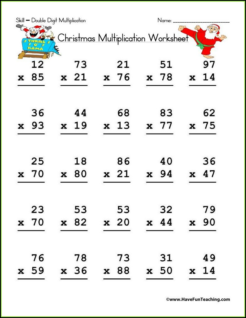 Math Worksheets Double Digit Addition