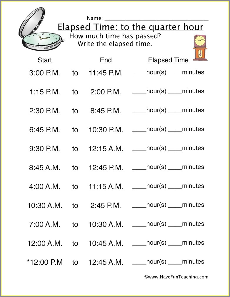 Math Worksheets Elapsed Time 4th Grade