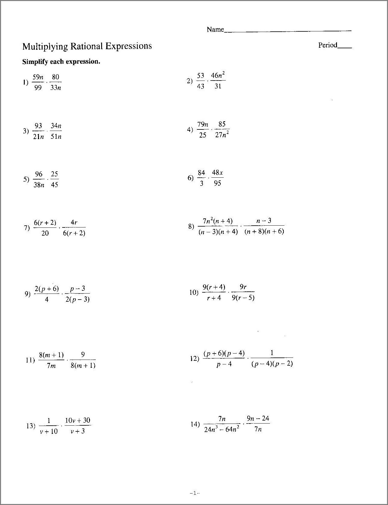 Math Worksheets For 7th Grade Rational Numbers