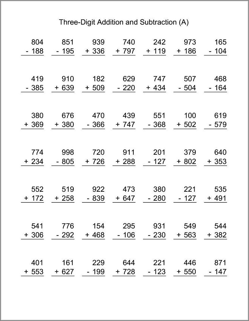 Math Worksheets Grade 3 Addition And Subtraction