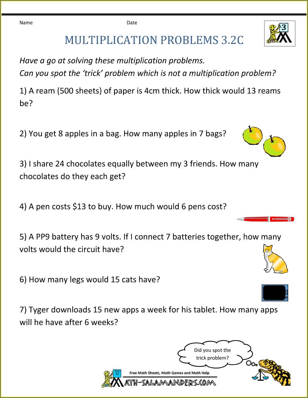 Math Worksheets Grade 4 Multiplication Word Problems