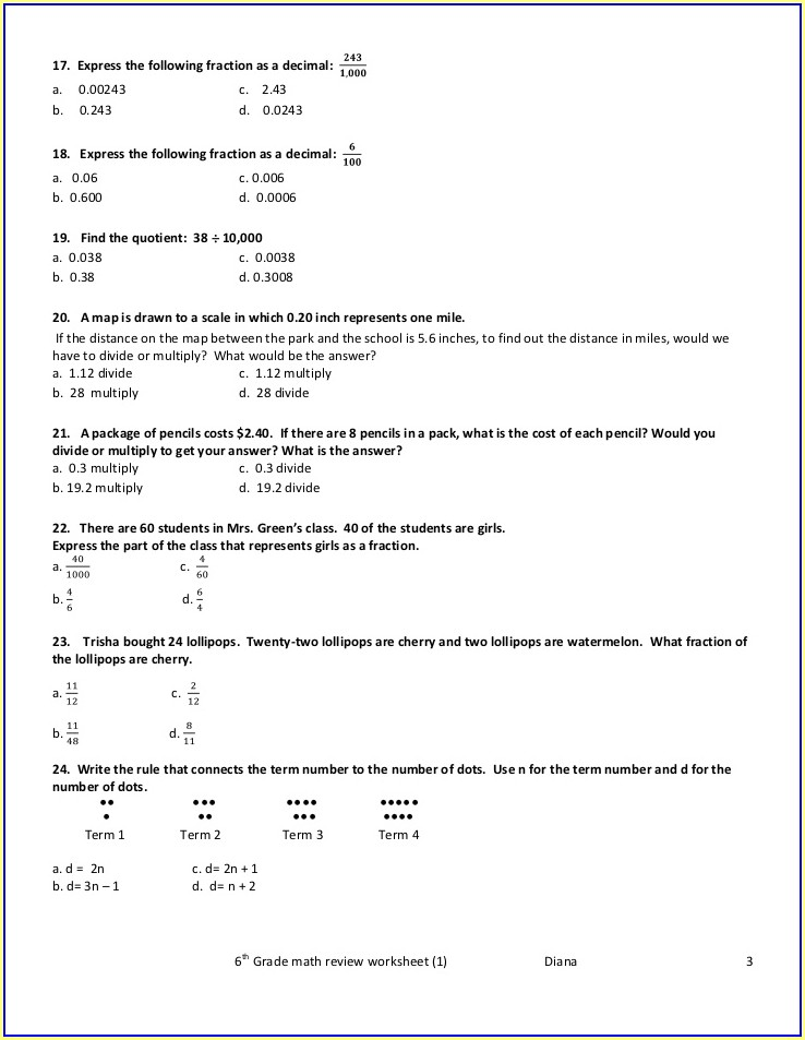 Math Worksheets Grade 5 Review