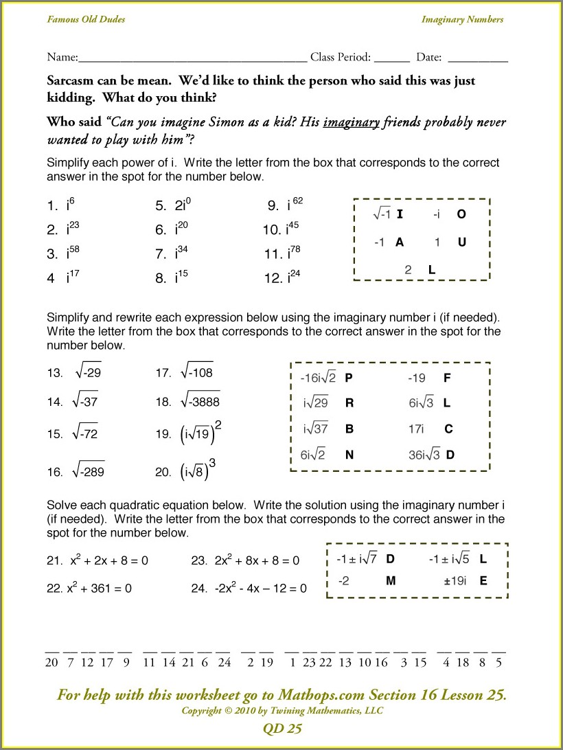 Math Worksheets Graphing Complex Numbers