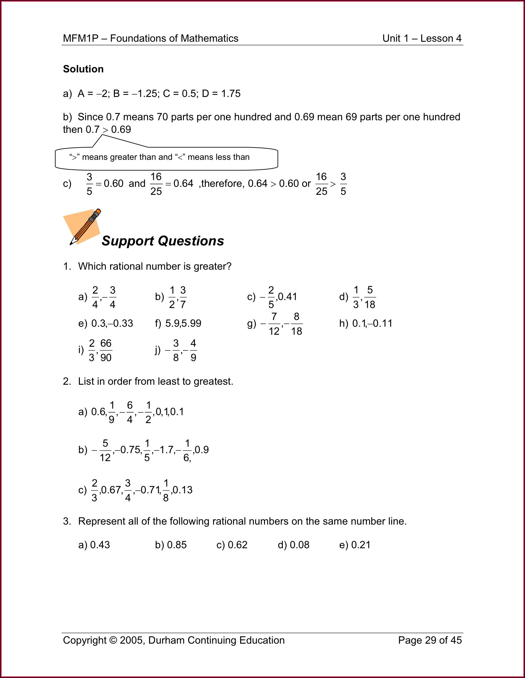 Math Worksheets Ordering Rational Numbers