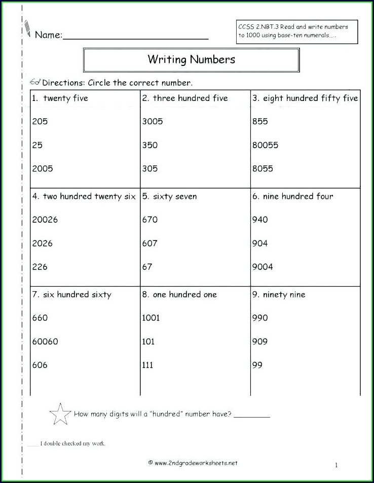 Math Worksheets Writing Numbers In Standard Form