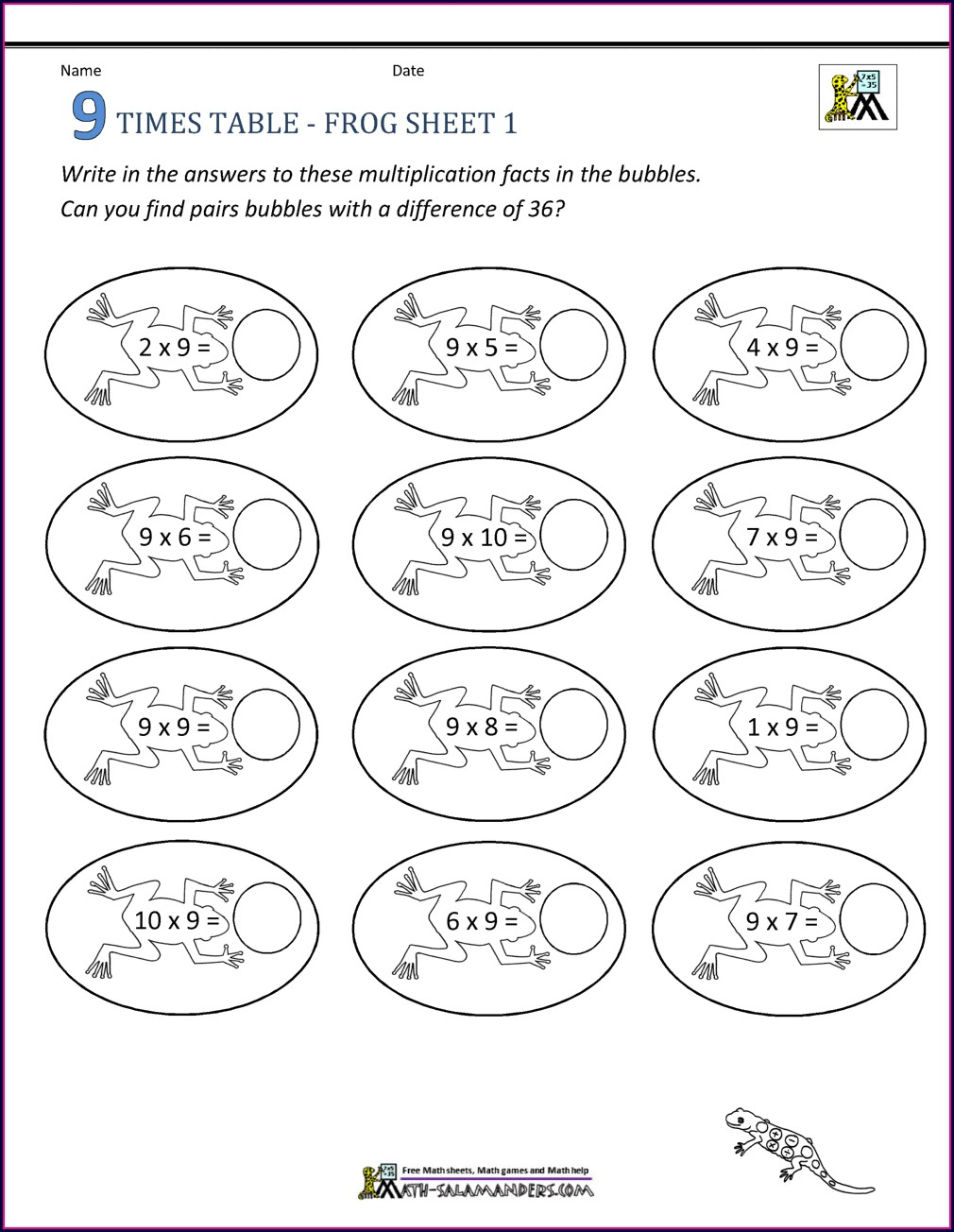 Maths Times Tables Practice Worksheets