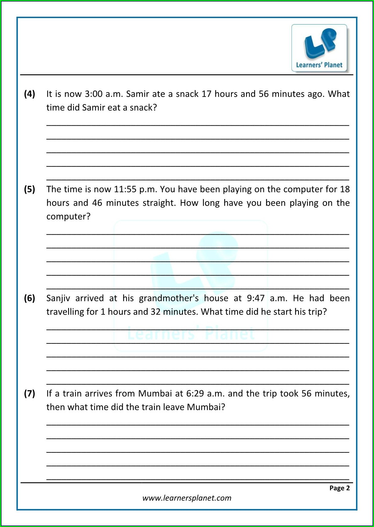 Maths Worksheets Time Word Problems
