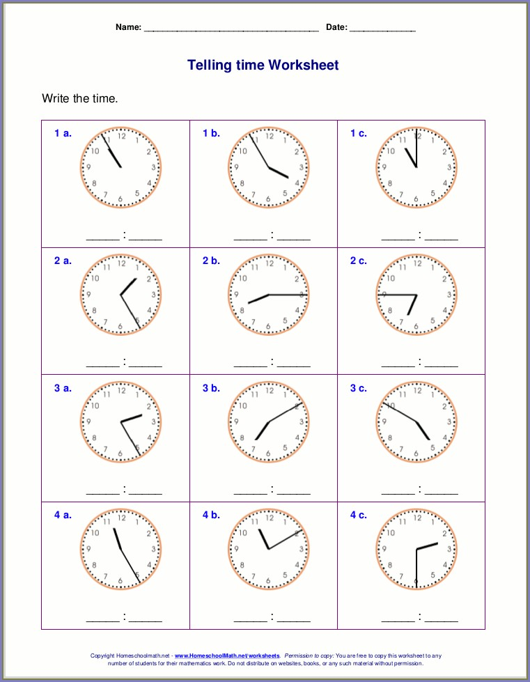 Measuring Time Worksheet Grade 2