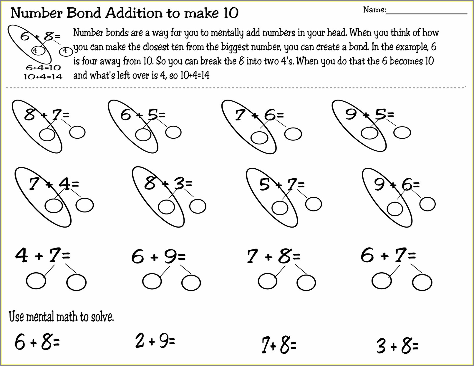 Mental Math Addition Worksheets Grade 3