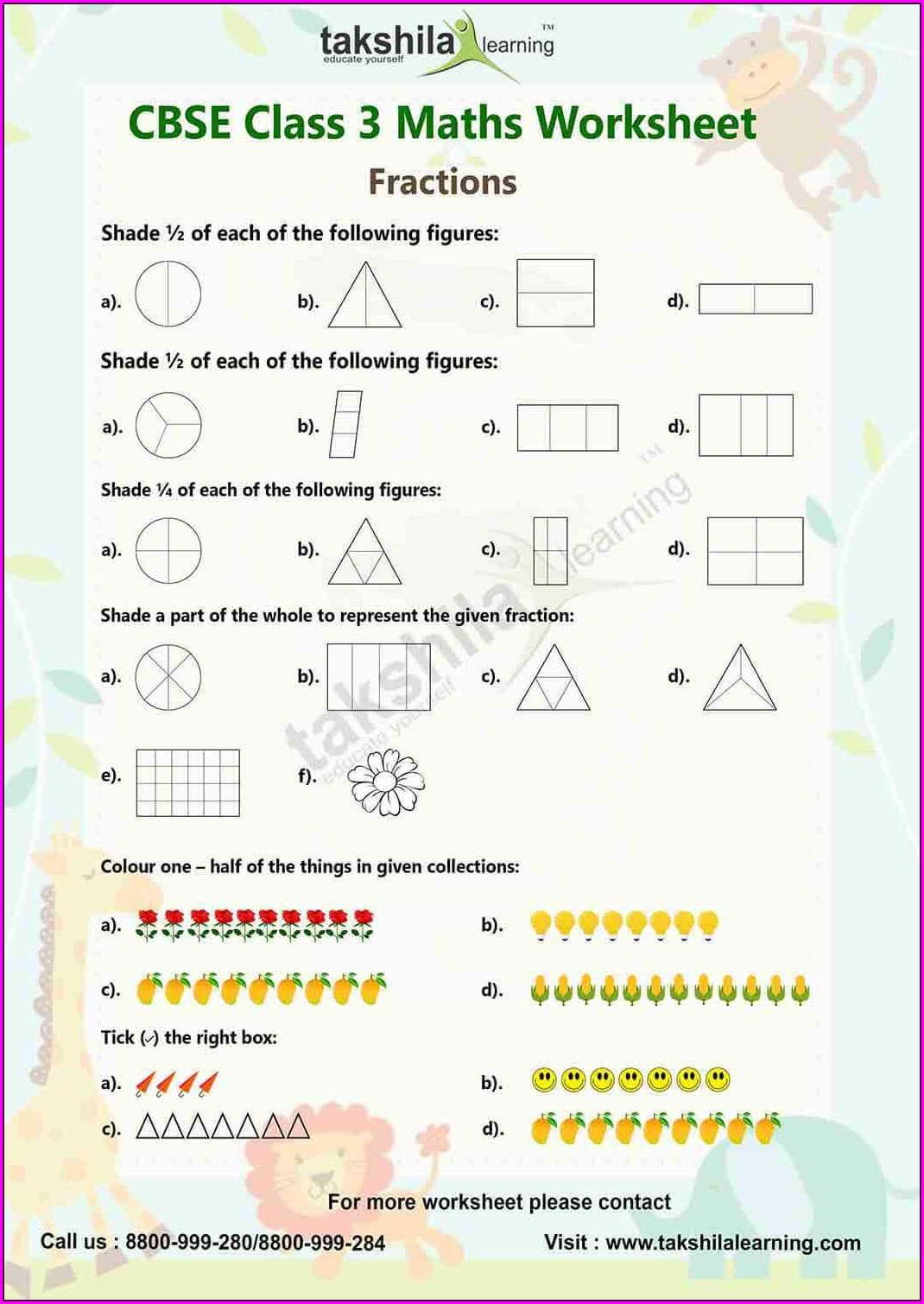 Mental Math Worksheet Grade 3