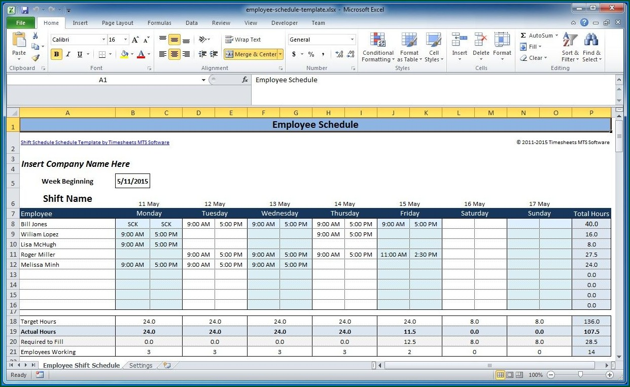 Microsoft Excel Templates For Schedules