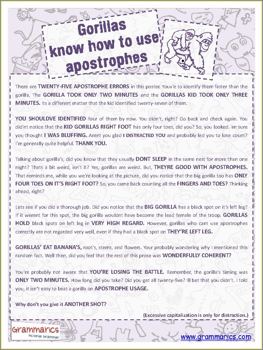 Middle School Apostrophe Worksheet