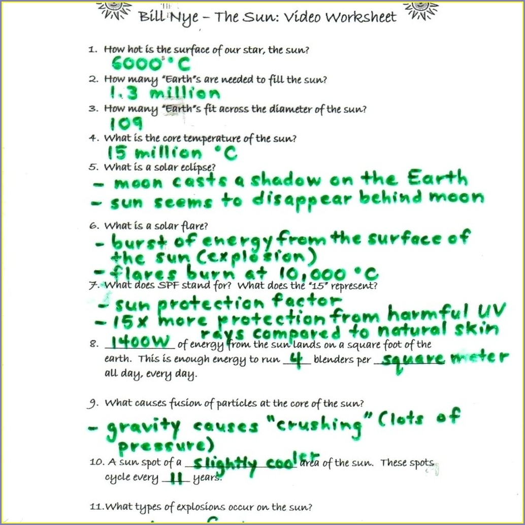 Middle School Bill Nye Energy Worksheet Answers