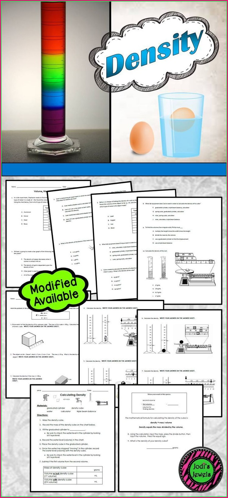 Middle School Calculating Density Worksheet