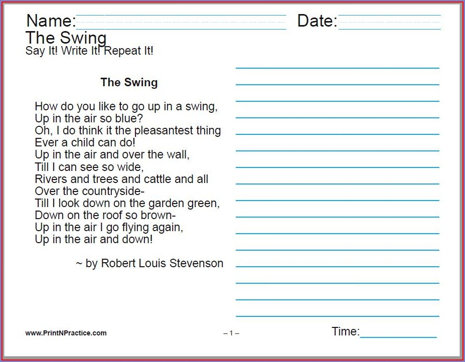 Middle School Cursive Writing Worksheets Pdf