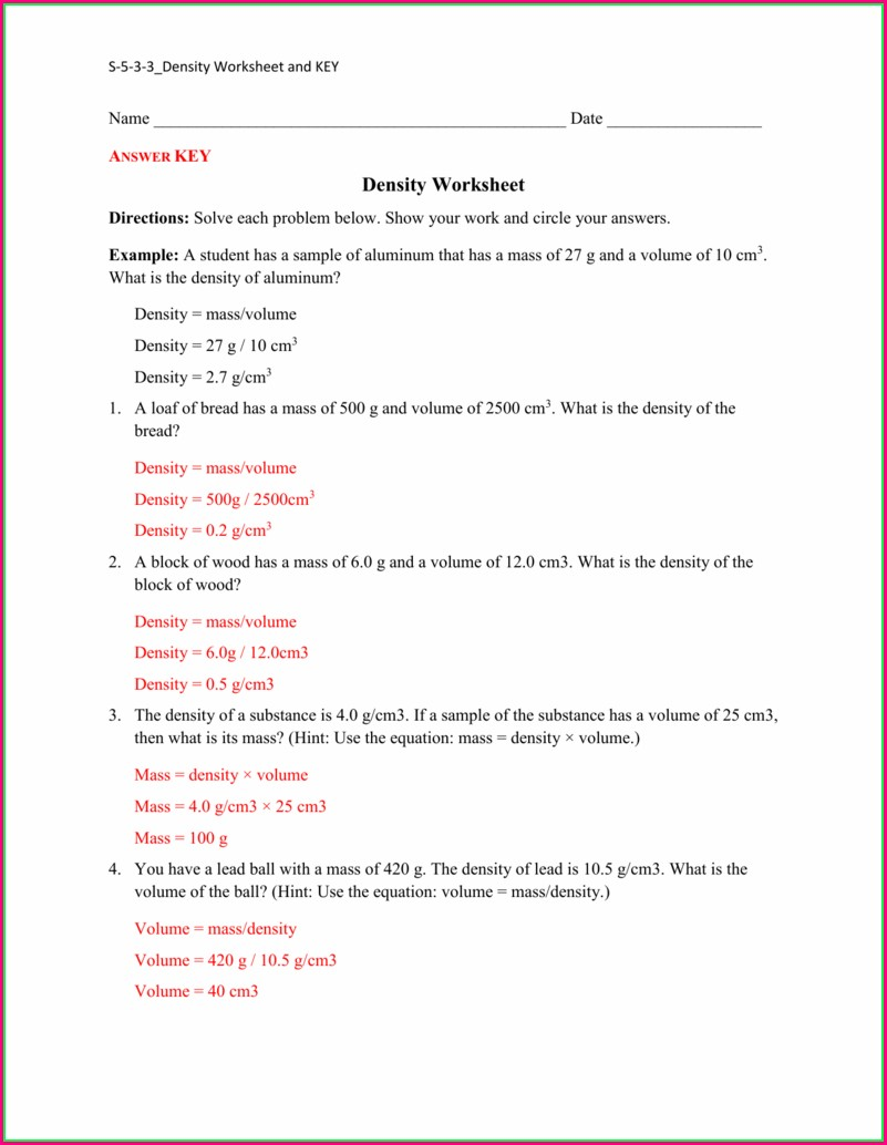 Middle School Density Worksheet Answers