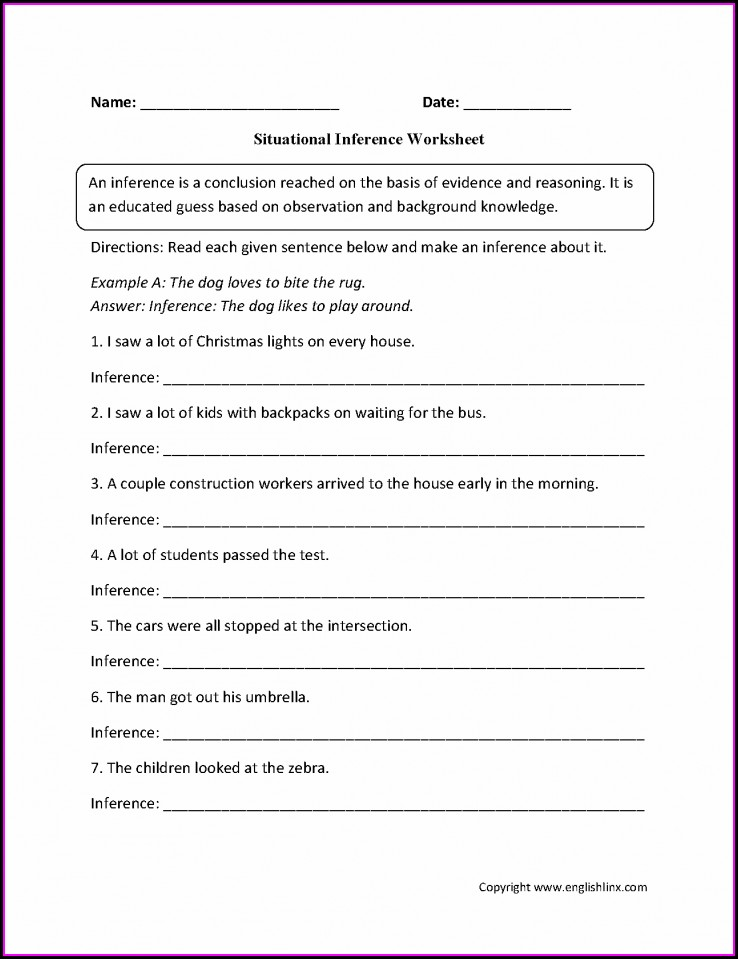 Middle School Inference Worksheet