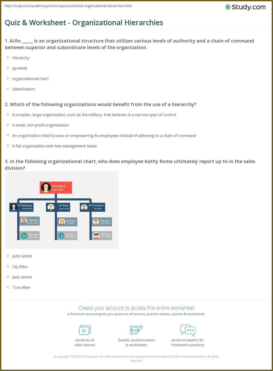 Middle School Levels Of Organization Worksheet