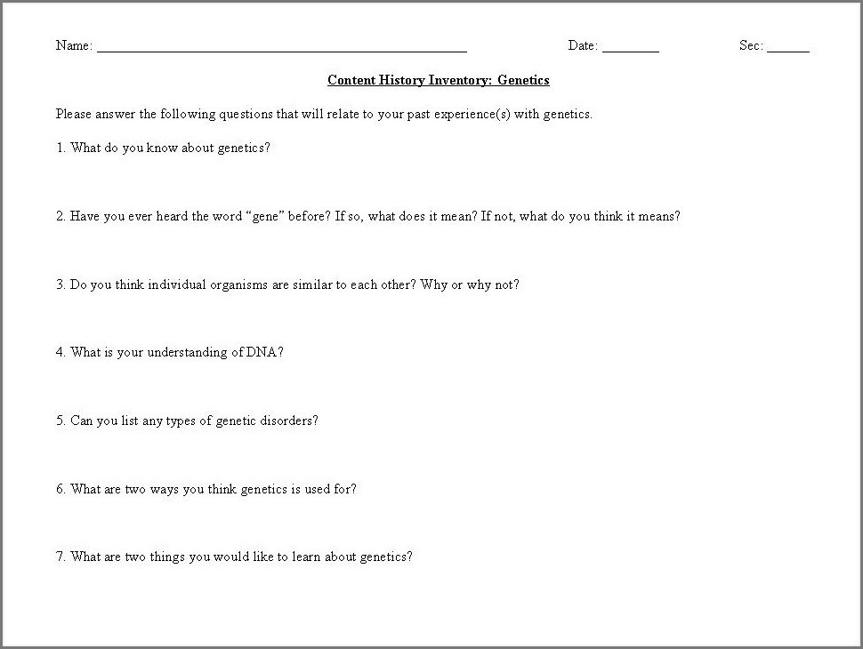 Middle School Mendelian Genetics Worksheet