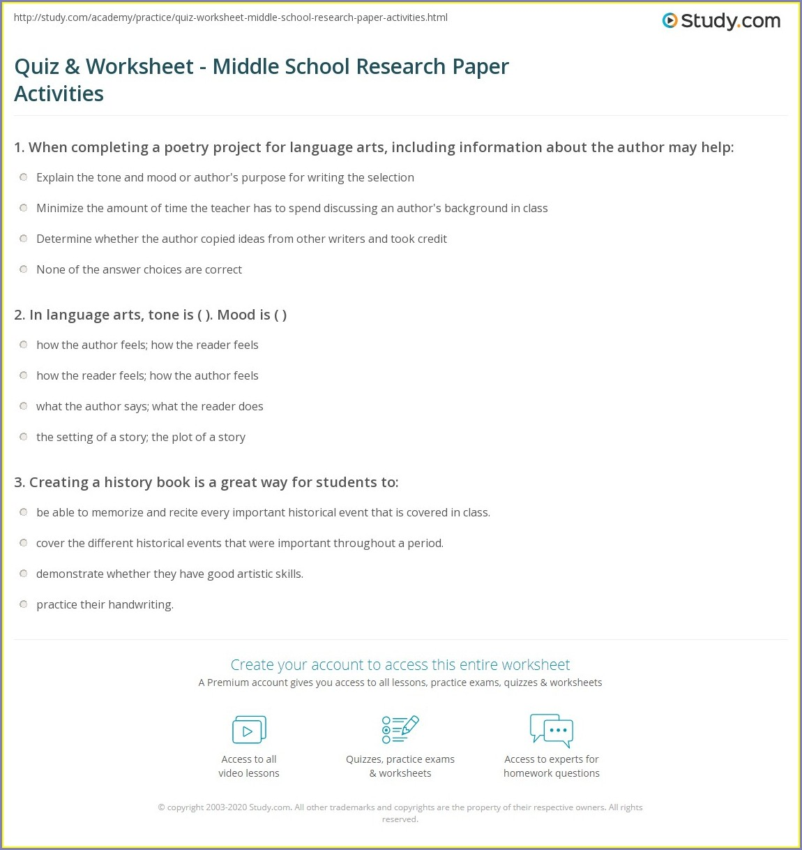 Middle School Research Worksheet