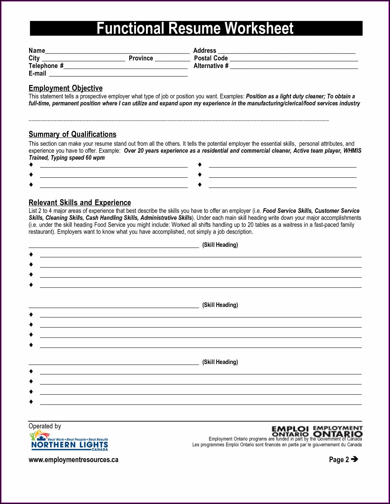 Middle School Resume Worksheet