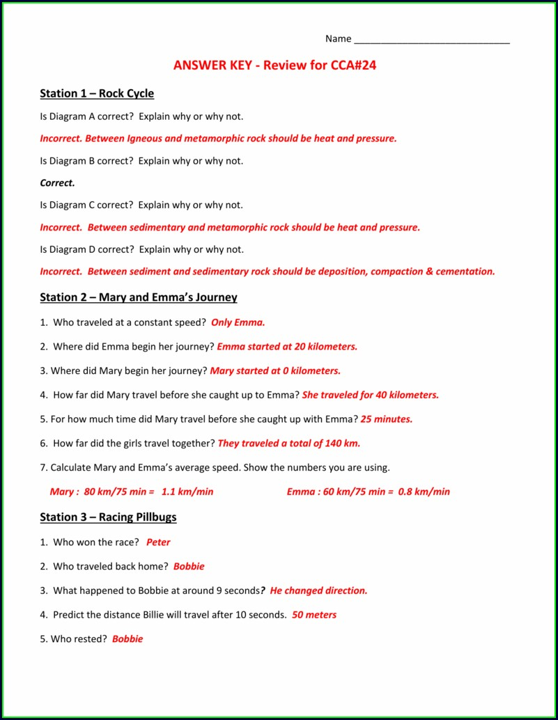 Middle School Rock Cycle Diagram Worksheet Answers
