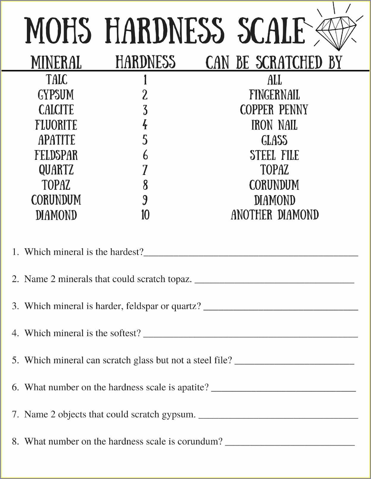 Middle School Science Worksheet For Grade 7