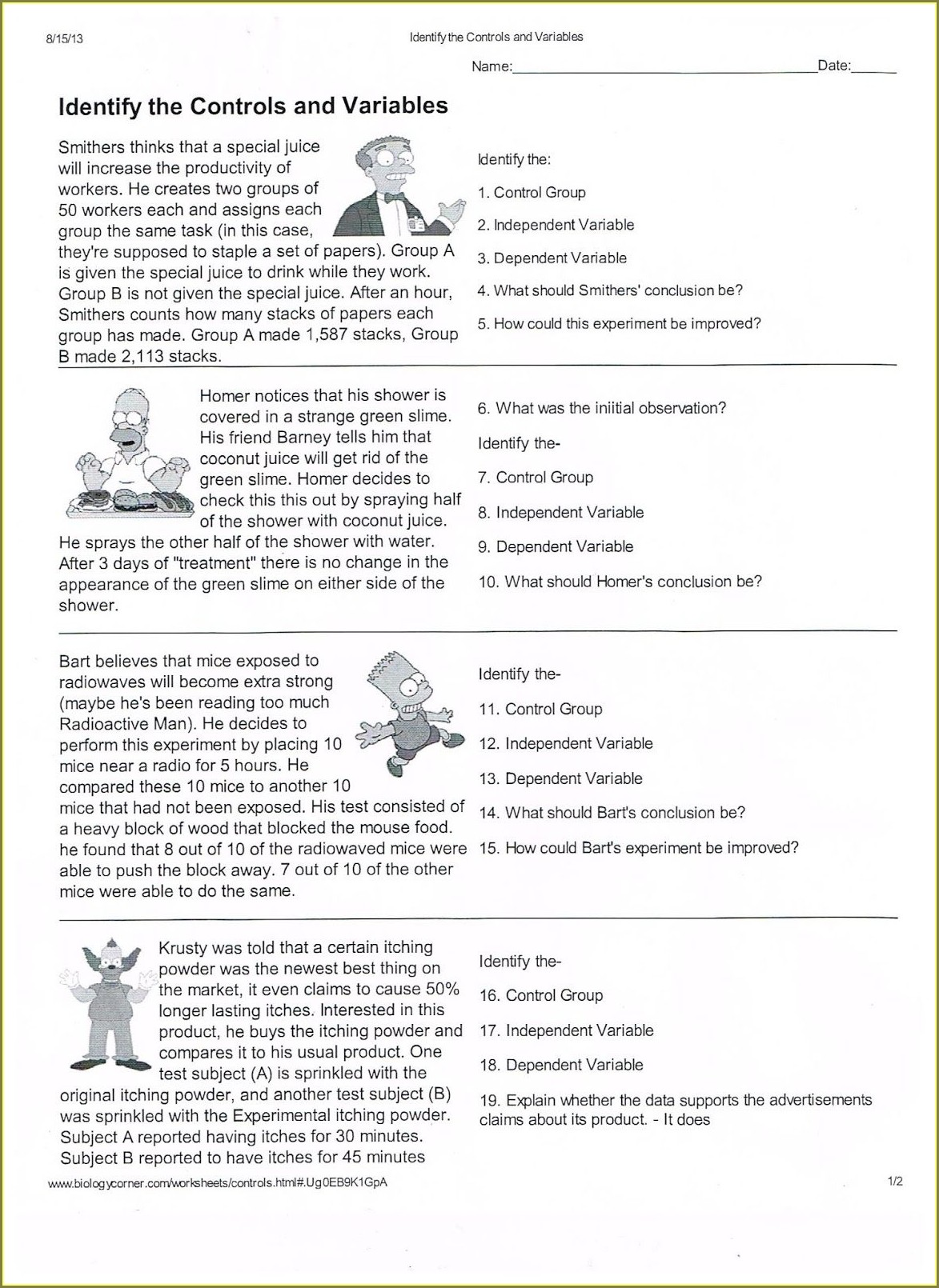 Middle School Scientific Method Worksheet Pdf