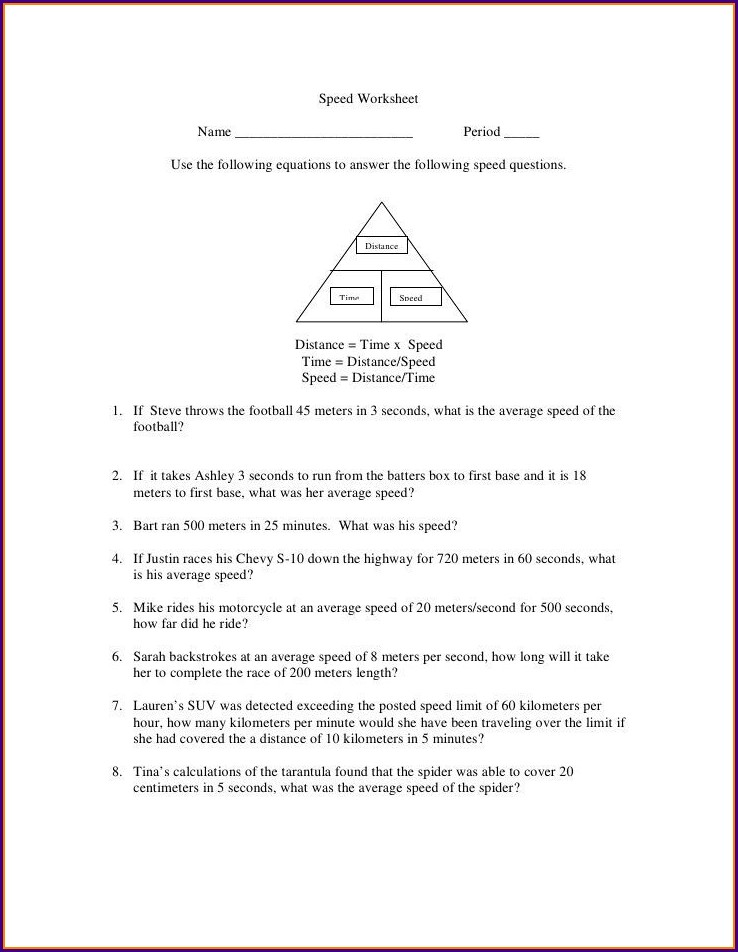 Middle School Speed And Velocity Worksheet