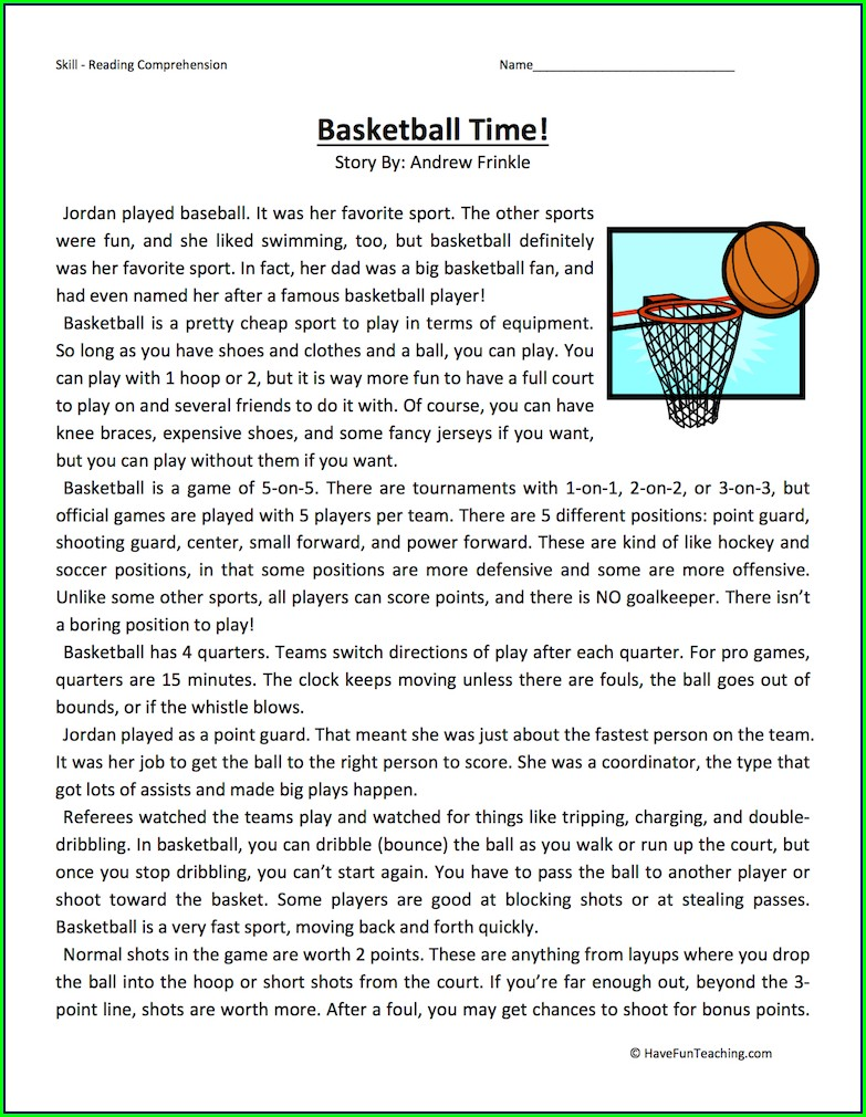 Middle School Sports Reading Comprehension Worksheets