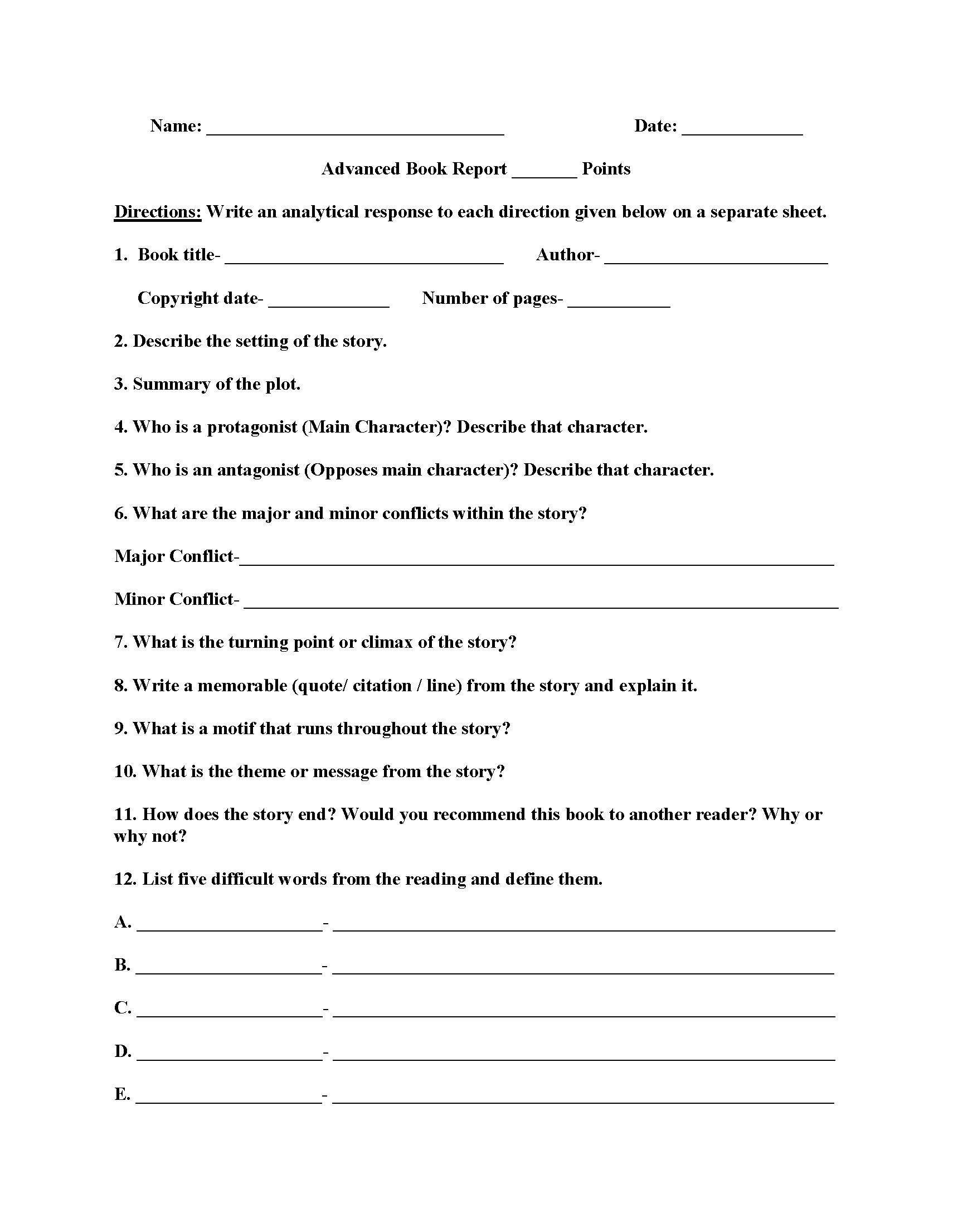 Middle School Summary Writing Worksheets Pdf