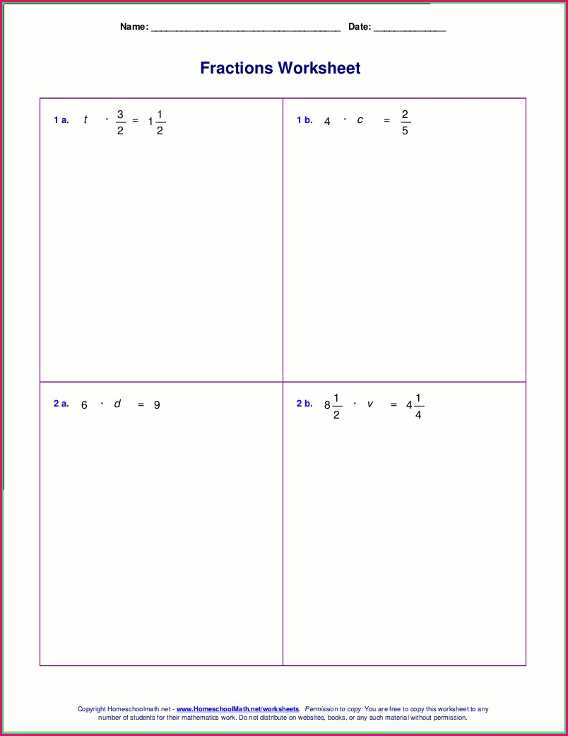 Mixed Number Equations Worksheet