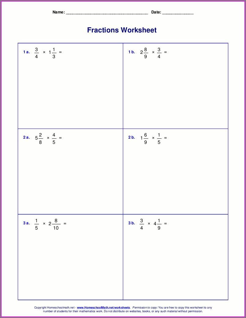 Mixed Number Multiplication Worksheet 6th Grade