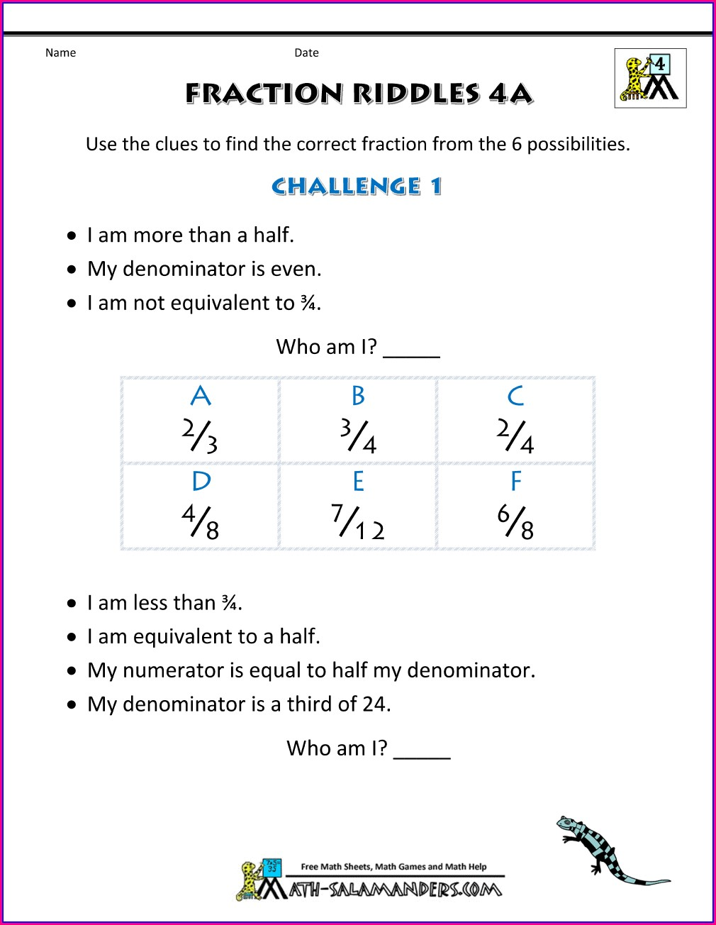 Mixed Number Puzzle Worksheet