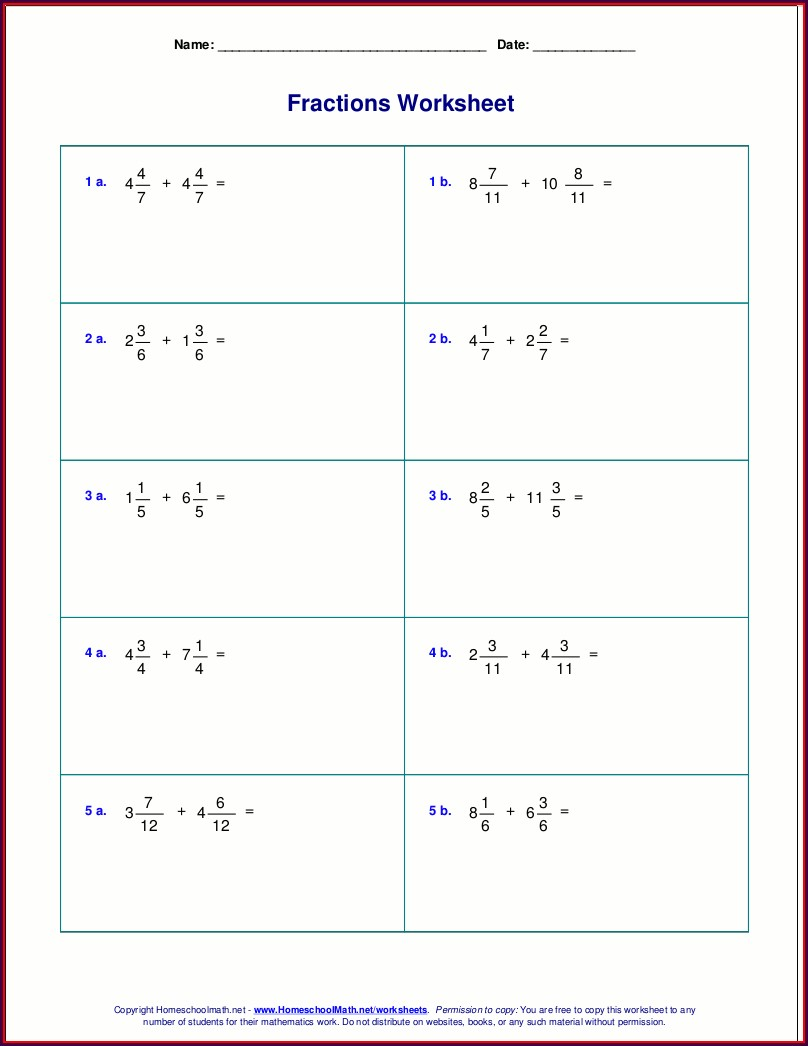 Mixed Number Subtraction Worksheet Pdf