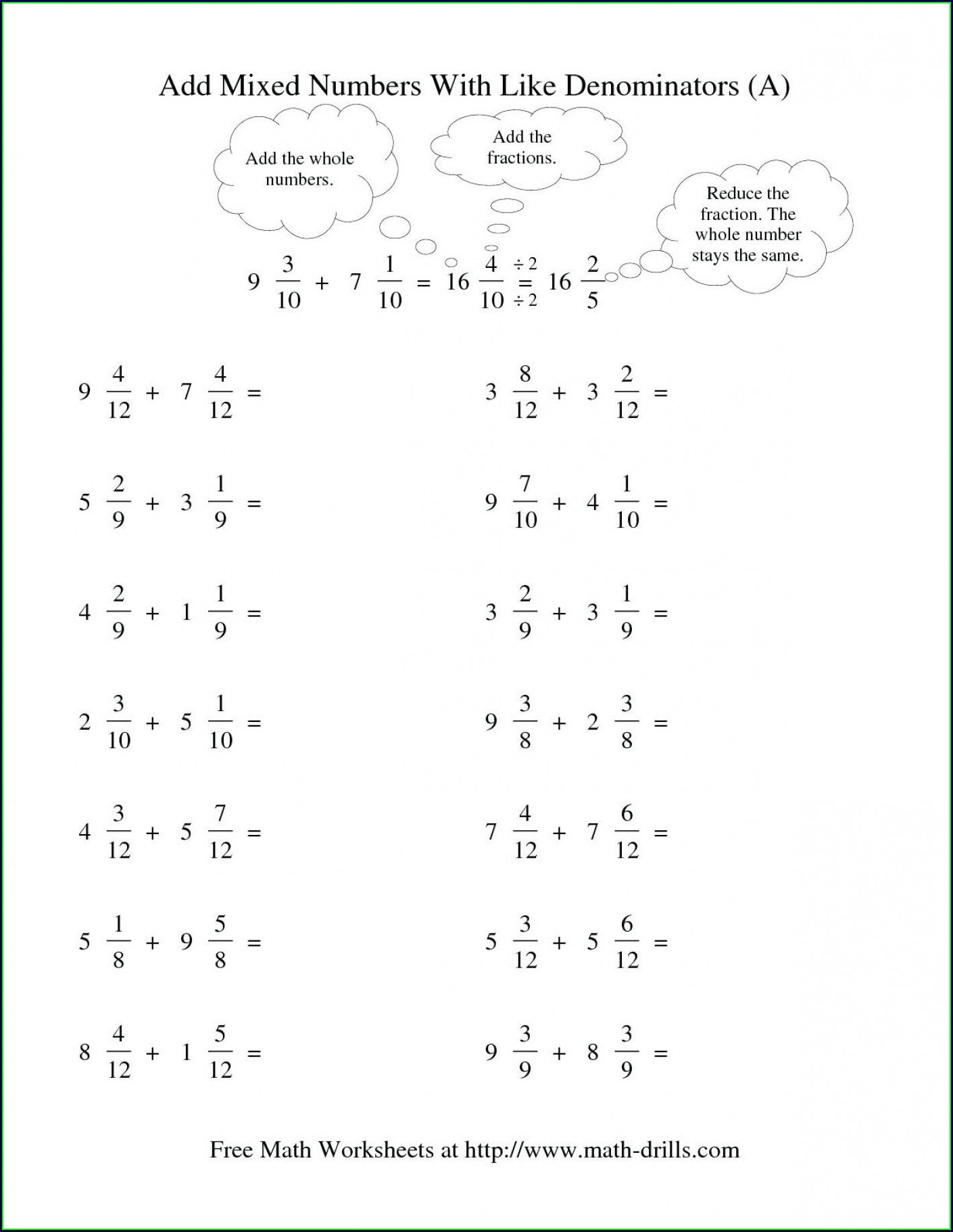 Mixed Number Worksheets For Third Grade