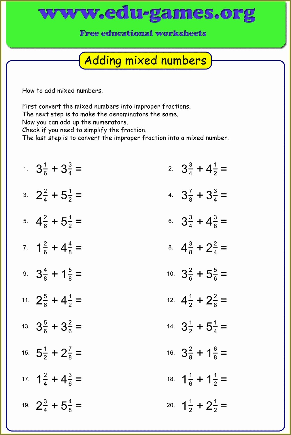Mixed Numbers With Unlike Denominators Worksheets
