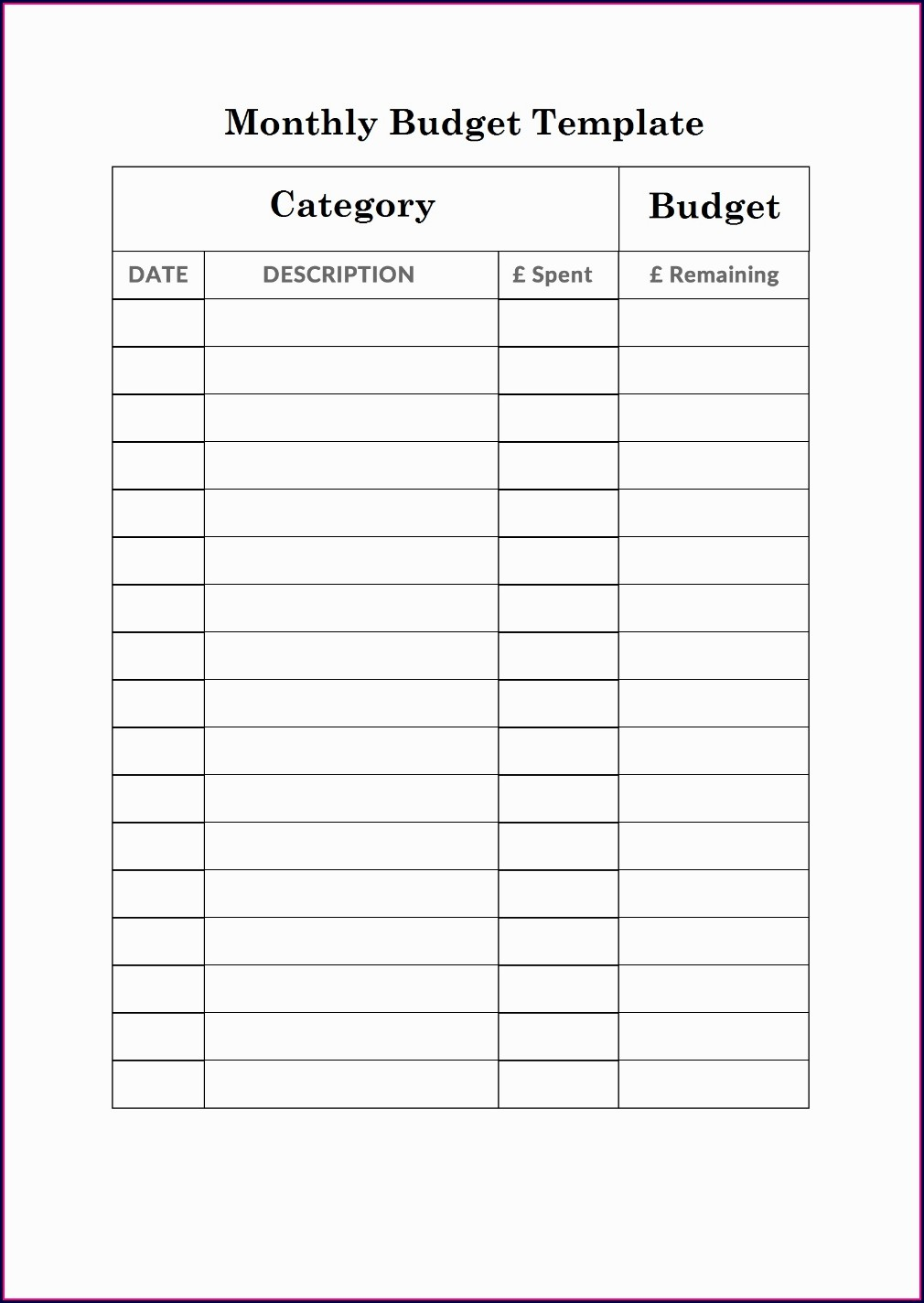 Monthly Budget Worksheet On Excel