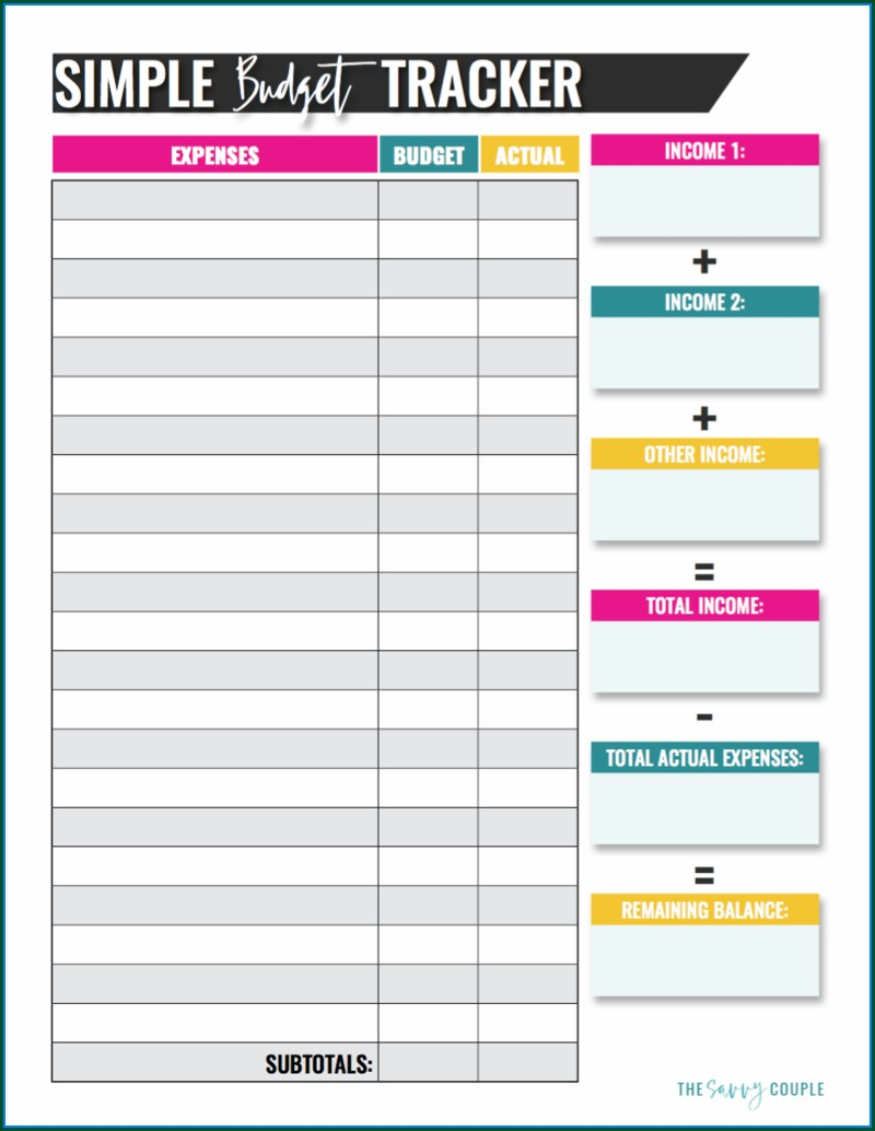Monthly Free Blank Budget Worksheet Printable