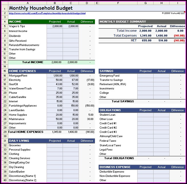 Monthly Home Budget Worksheet For Microsoft Excel