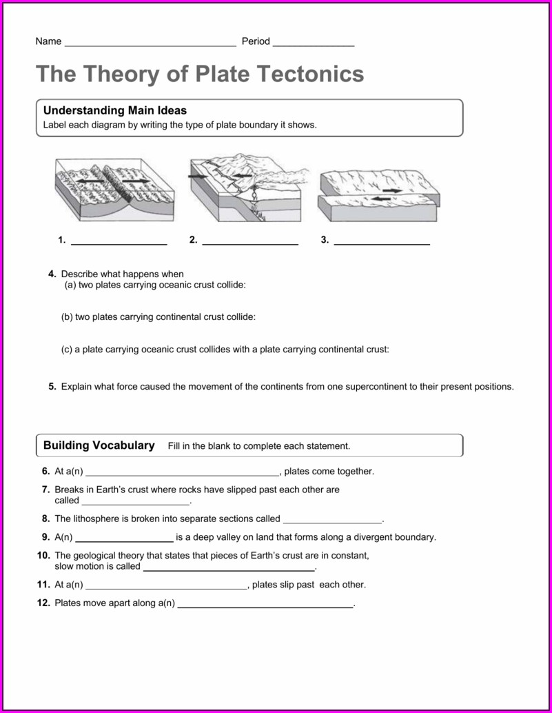 Moving Continents And Plate Tectonics Worksheet