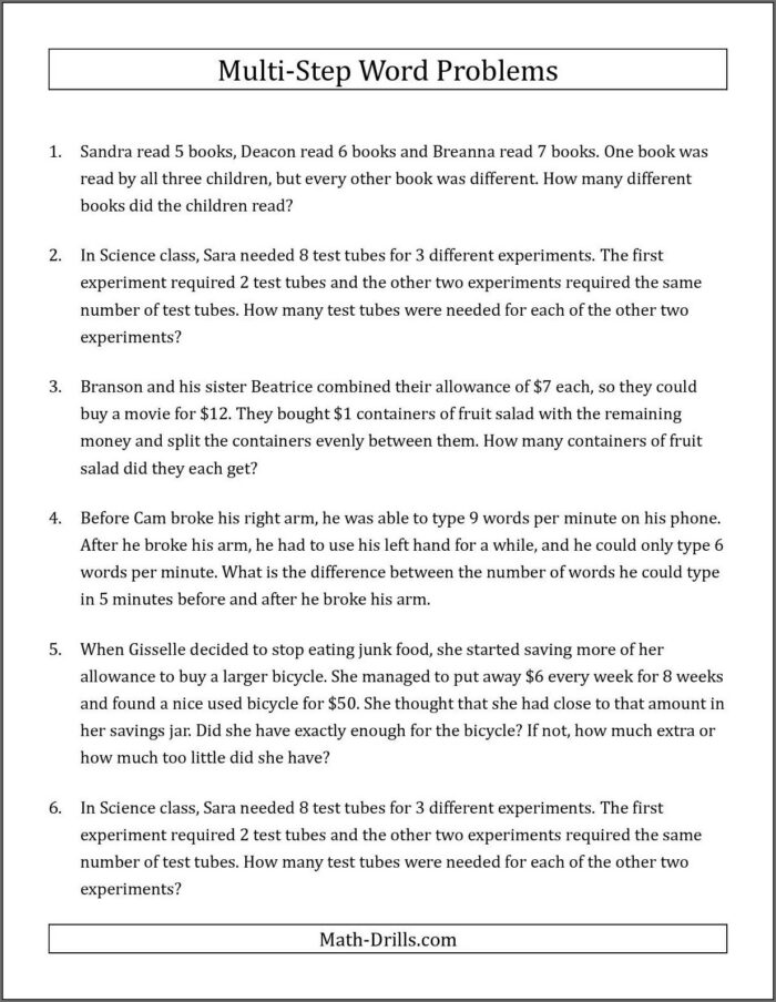 Multi Step Maths Word Problems Year 6 Worksheets