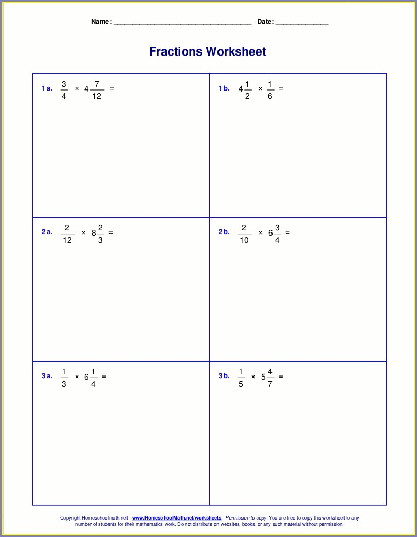 Multiple Choice Fractions Worksheet