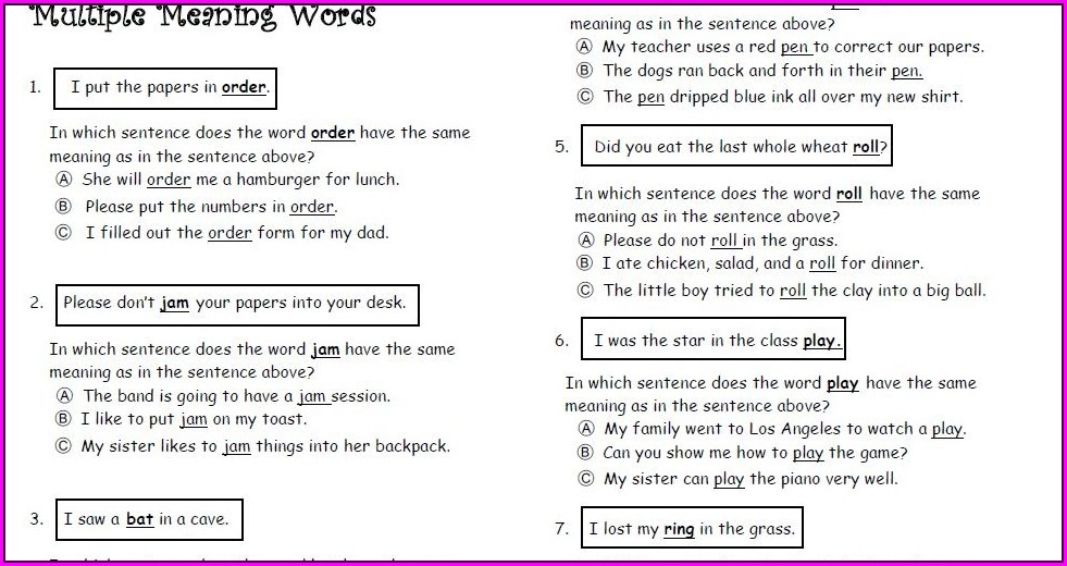 Multiple Meaning Words Worksheets 1st Grade