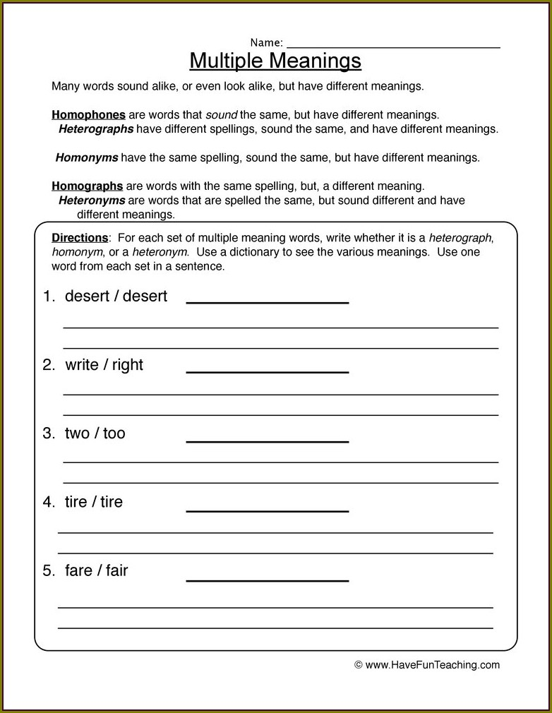 Multiple Meaning Words Worksheets Dictionary