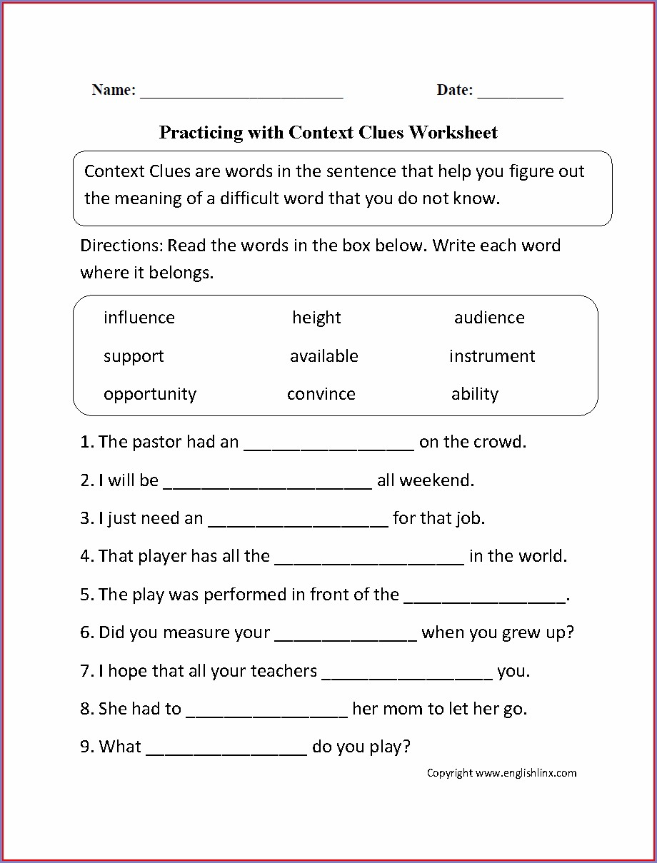 Multiple Meaning Words Worksheets For 5th Graders